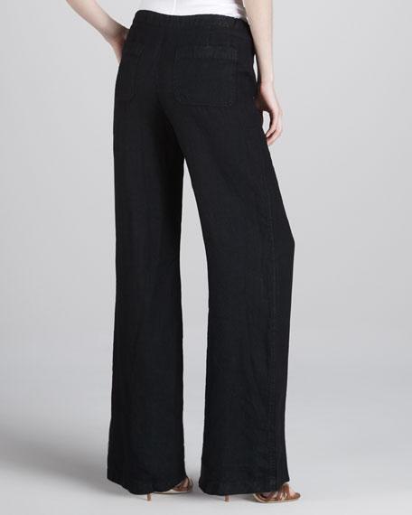 Linen Beach Pants, Black