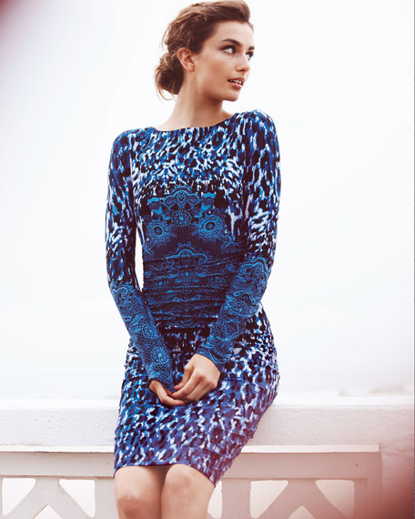 Long-Sleeve Animal-Print Dress