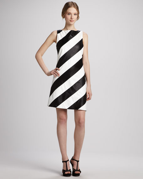 Paige Striped Leather Shift Dress