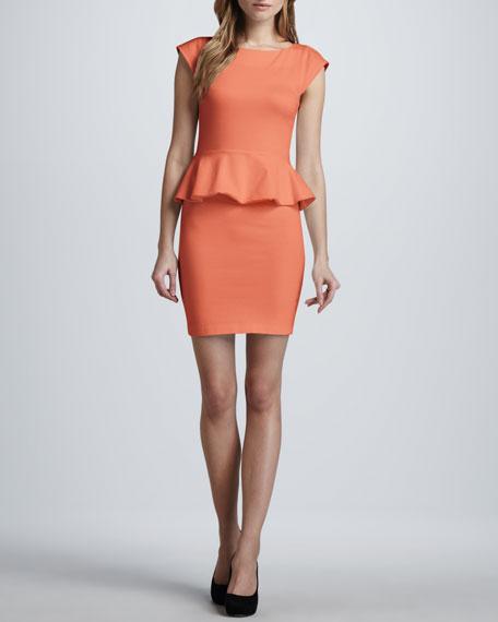 Victoria Peplum Dress, Papaya