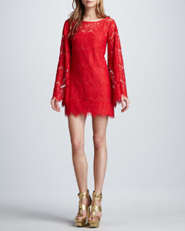 Alexis Stassi Lace Bell-Sleeve Dress