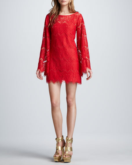 Stassi Lace Bell-Sleeve Dress