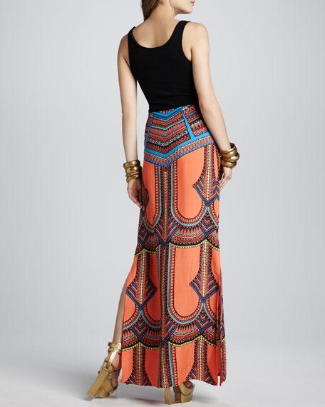 Madge Tribal-Print Maxi Skirt