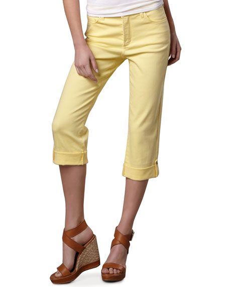 Carmen Button-Cuff Cropped Jeans