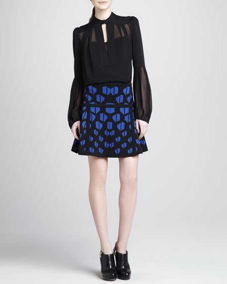 Float-Print Fit-and-Flare Skirt