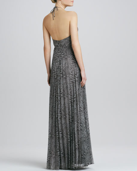 Animal-Print Halter Gown