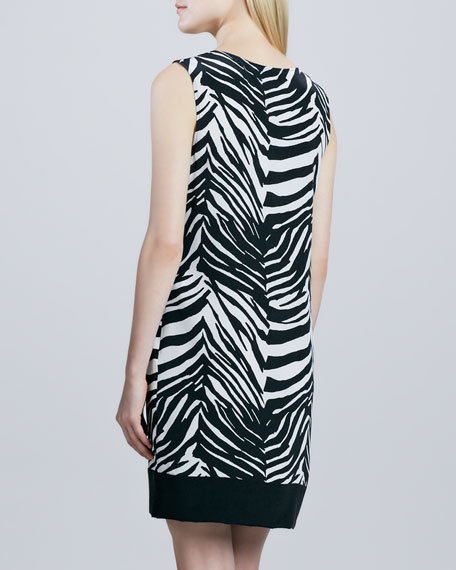 Zebra-Print Colorblock Dress