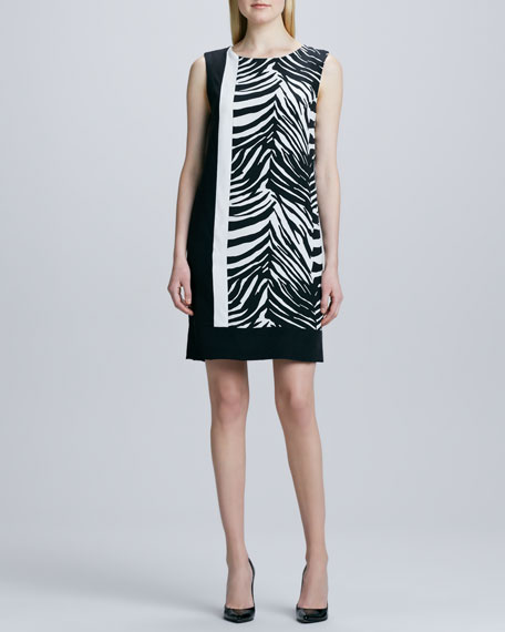 Magaschoni Zebra-Print Colorblock Dress