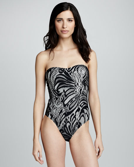 Ella Lace-Print Strapless Swimsuit, Black/White