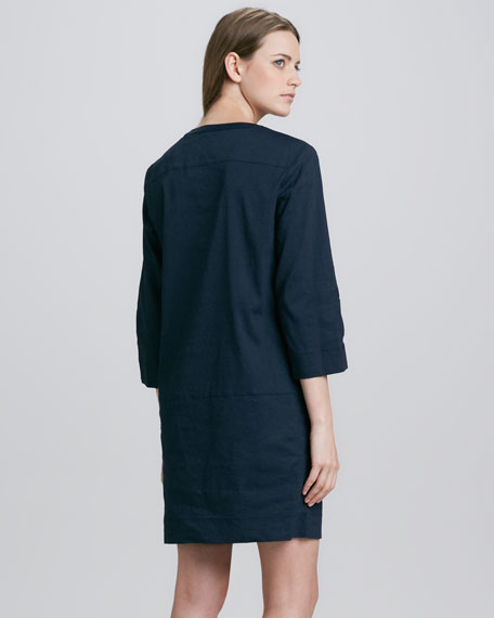 Helda Linen-Blend Dress, True Navy
