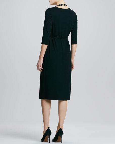 Viscose Jersey Three-Quarter-Sleeve Dress