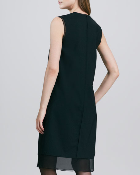 Split-Neck Sheer-Hem Dress