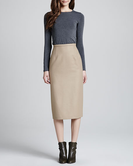 Long Felt Pencil Skirt