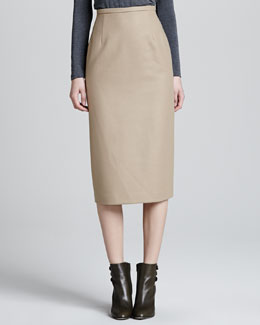 Michael Kors Long Felt Pencil Skirt