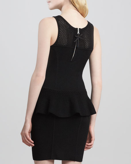 Nicole Crochet Peplum Dress,Black