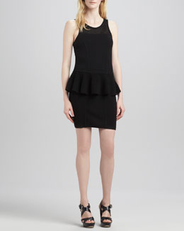 Milly Nicole Crochet Peplum Dress,Black