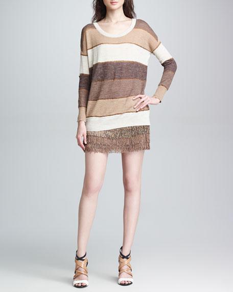 Haute Hippie Ombre Beaded Fringe Skirt