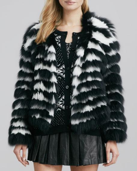 Striped Rabbit & Fox Fur Cropped Jacket