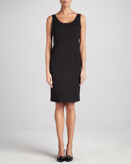 Eileen Fisher Ponte Leather-Trim Sheath Dress, Petite