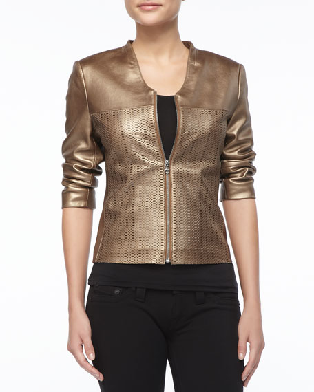 Gold Pinched Leather Jacket