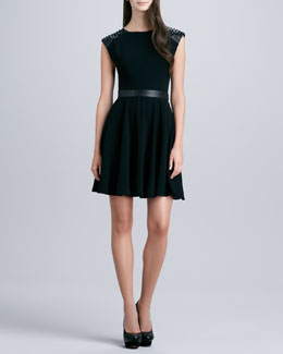 Alice + Olivia Kerry Stud-Shoulder Dress