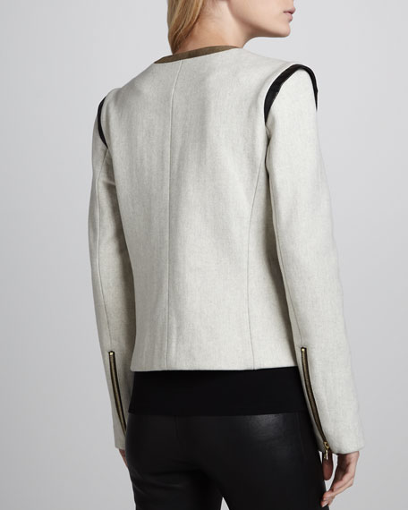 Boxy Jacket with Suede & Leather Trim