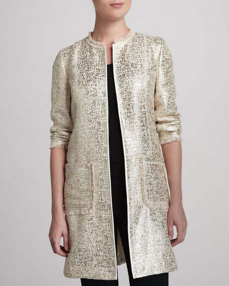 Long Topper Jacket, Ecru/Gold