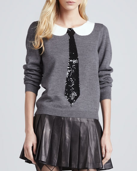 Delray Sequined-Tie Sweater