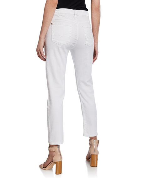 7 For All Mankind Kimmie Straight-Leg Cropped Jeans, Clean White