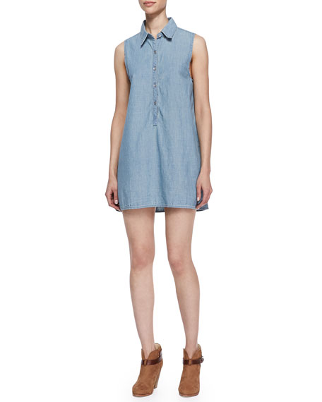 Sleeveless Chambray Tent Shirtdress