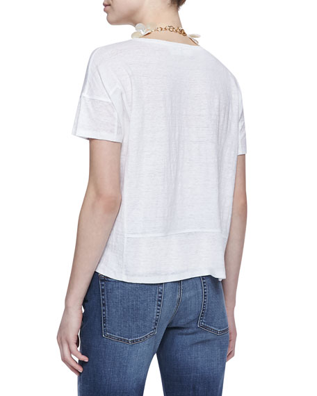 Organic Linen Short-Sleeve Box Top, Women's