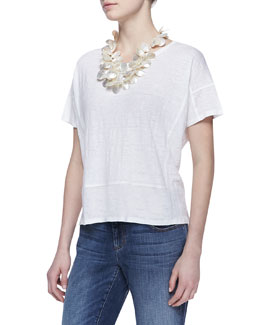 Eileen Fisher Organic Linen Short-Sleeve Box Top, Women's