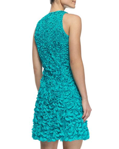 Sleeveless 3-D Petal Cocktail Dress, Delft Blue