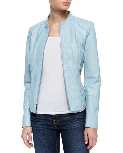 Neiman Marcus Tiered Sleeve Jacket, Light Blue