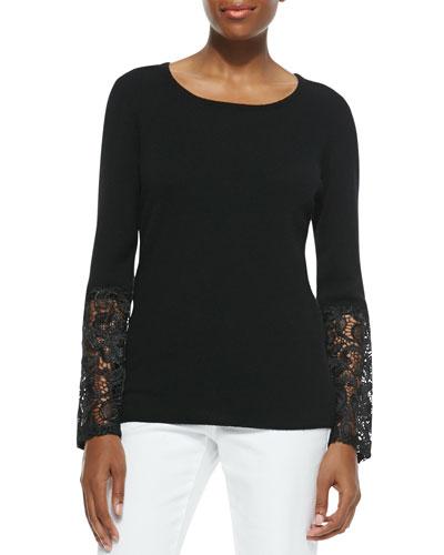 Cashmere Crochet-Sleeve Sweater
