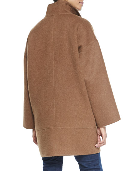 Double-Face Alpaca Cocoon-Shape Coat, Women's