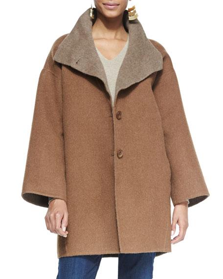 Double-Face Alpaca Cocoon-Shape Coat, Women's
