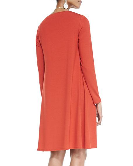 Long-Sleeve A-line Jersey Dress