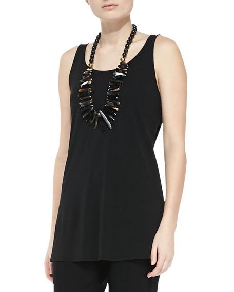 Eileen Fisher Long Silk Jersey Tunic, Black, Women's