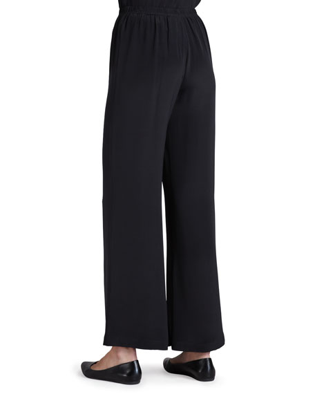 Silk Crepe Wide-Leg Pants, Black, Petite