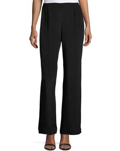 Silk Crepe Wide-Leg Pants, Black, Petite