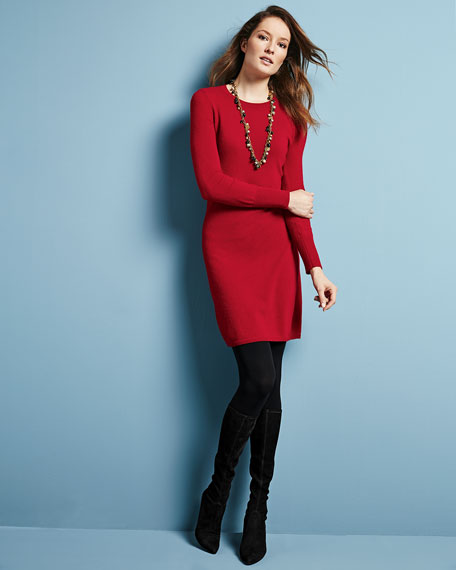 Neiman Marcus Cashmere Collection Crewneck Cashmere Sweaterdress
