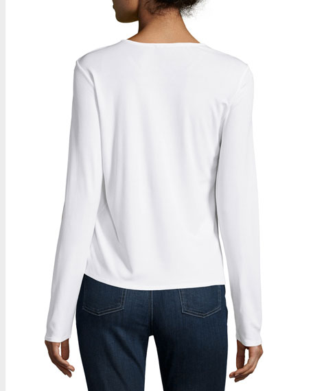 Long-Sleeve Silk Crewneck Tee, Soft White
