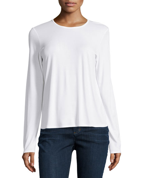 Eileen Fisher Long-Sleeve Silk Crewneck Tee, Soft White