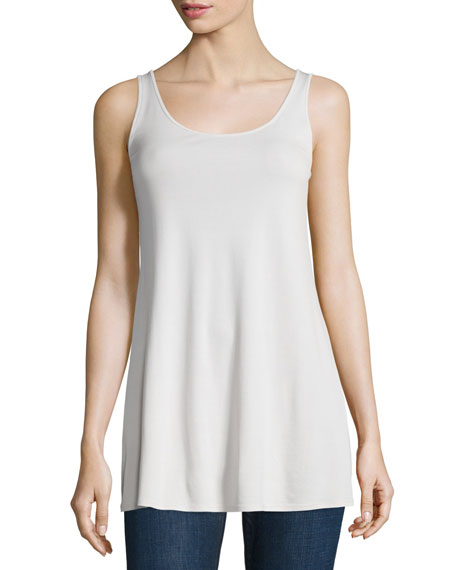 Eileen Fisher Long Silk Jersey Tunic, Soft White,