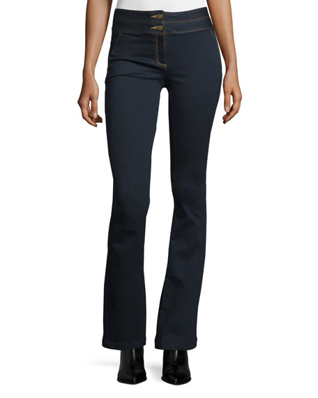 Veronica Beard Flare-Leg Dark Stretch Jeans