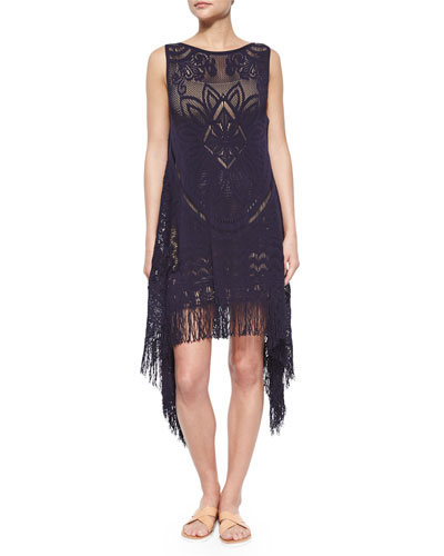Asymmetric Reversible Fringe Tunic