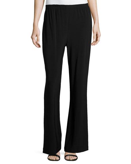Caroline Rose Stretch-Knit Wide-Leg Pants, Black, Petite