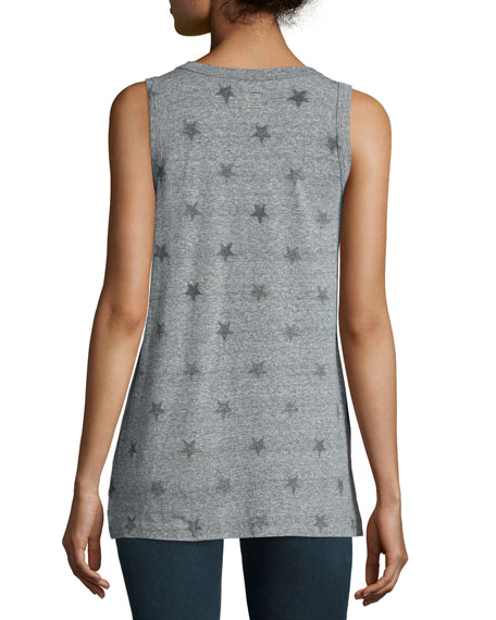 The Muscle Tee, Heather Grey Star Print