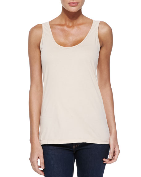 Johnny Was Collection Scoop-Neck Cotton Tank, White, Plus